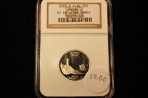 2003 S MAINE  STATE QUARTER,    NGC PROOF 68 ULTRA CAMEO CLAD QUARTER