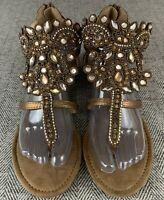 Muk Luks Sandals Womens 10~Gladiator Flats~Embellished~Faux Jewels~Metallic Gold