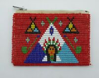 Vintage Native American Indian Seed Beaded Red Coin Purse Teepee Pipe Design
