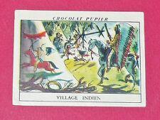 CHROMO N°38 VILLAGE INDIEN CHOCOLAT PUPIER AMERIQUE DU NORD 1952