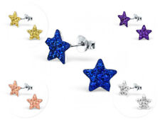 Earrings 9mm - Boxed 5 Colours Childrens Girls Sterling Silver Crystal Star Stud