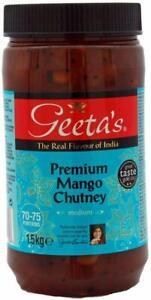 Geeta's Premium Mango Chutney 1.5 kg Authentic Indian Cuisine Vegan Gluten Free