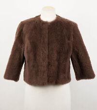 NWT BRUNELLO CUCINELLI Brown Sheepskin Shearling Jacket Coat Size 6/42 $5780