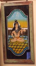 Ancien Fixe sous Verre Peinture sur Verre Shiva 37x68x1,5cm Glass Painting Inde