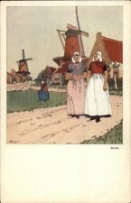 Holland GIES Windmills Native Women - H. Cassiers c1900 EXC COND Postcard