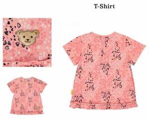 T-Shirt Steiff Shirt kurzarm Mädchenoberteil Pink gemustert Größe 98 / 2-3 Jahre