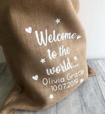 PERSONALISED NEWBORN KEEPSAKE SACK, Glitter Welcome to the World Name DoB, Gift