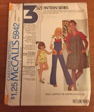 McCall's Pattern 5942 VTG Girll' Jumpsuit Or Romper & Blouse FF 10-13-14
