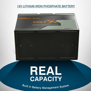 VoltX 12V 100Ah Lithium Iron Battery LiFePO4 Cells Rechargeable Deep Cycle RV