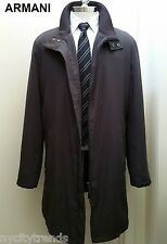 ARMANI canvas & leather jacket gray black trench coat long overcoat topcoat XL