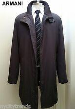 ARMANI canvas & leather jacket gray black trench coat long overcoat topcoat XL