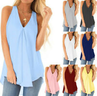 Women Chiffon Casual Loose Sleeveless Blouse V Neck Summer Tunic Tank Tops Shirt