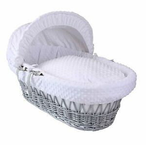 Isabella Alicia Designer Grey Wicker Moses Basket with White Dimple Dressing