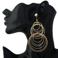 Large Big Multi Layers Circle Rings Fashion Hook Earrings, Silver / Gold UK