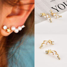 1 Pair Women's Jewelry Crystal Rhinestone Pearl Gold Star Ear Stud Earrings