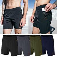 Men's Outdoor Sports Shorts Quick Dry Gym Running Zipper Pocket Workout Pants G2