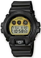 CASIO G-SHOCK Black Gloss Watch With Gold Tone Dial DW6900PL