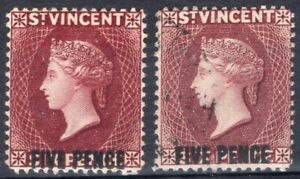 ST. VINCENT 1892/3 STAMP Sc. # 59 MH AND 59a USED