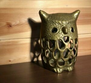 Vintage Brass Rustic Owl Lantern Tea Light Candle Holder Shell