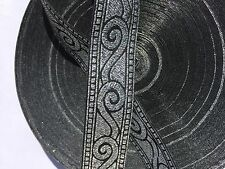"10 Yds PRETTY BLACK/ SILVER 3/4"" VERY NICE JACQUARD RIBBON TRIM"