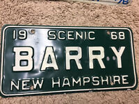 1968 New Hampshire Vanity License Plate.  BARRY