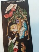 UNUSED Vtg ANGEL Nativity Embossed Tall Splendor CHRISTMAS GREETING CARD w Env