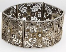 Antique C. 1880 Victorian Sterling 800 Silver Carved Filigree Panel Bracelet!