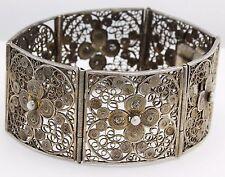 Antique C. 1880 Victorian Sterling 800 Silver Carved Filigree Panel Bracelet!