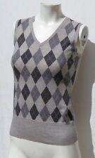 BROOKS BROTHERS Women's Gray Argyle Italian Merino Wool Sweater Vest size XS