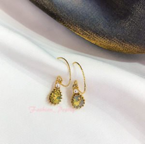 Handmade Pretty Vintage Pearl & Synthetic Stone Drop Earrings -- (Hot Sale)