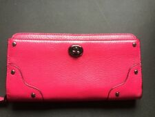 NWT COACH Pink Mercer Accordion Leather Zip Wallet Checkbook Purse GREAT COLOR!