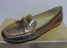 New Michael Kors Everett Moc Flats tumbled leather small bow leather upper Gold