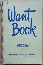 """1950s MARSHALL-WELLS CO. ZENITH """"wholesale WANT BOOK""""  UNUSED MINT"""
