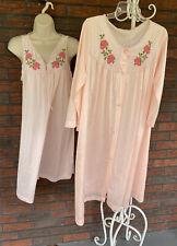Vintage Gown Matching Robe Medium Large Sleeveless Pajamas Long Sleeve Peignoir
