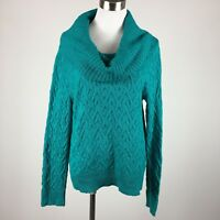 Covington Womens Sweater Cowl Neck L Blue Green Cable Knit