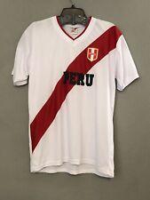 Peru Mens Jersey Tshirt Large White Red Black Short Sleeve  EUC