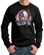 Mens Indian Motorcycle Biker Shirt Big Chief Pullover Sweatshirt