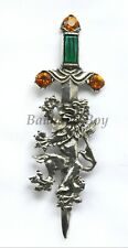 Miracle KILT PIN PEWTER LION RAMPANT FAUX CAIRNGORM STONE ANTIQUE FINISH UK MADE
