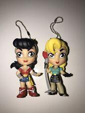 DC Comics Lil Bombshells Wonder Woman Black Canary Key Chain Mini Figs Clip On