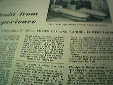 ephemera 1949 article piero taruffi twin fuselage 500 cc record car