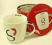S Monogram Ceramic Coffee Cup Mug & Tin Gift Set Tea Soup Home Essentials 14 oz