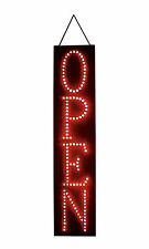"""Open Sign Red Led 6"""" x 27"""" x 1 ⅜"""" Thick Vertical Stationary Soild or Flashing"""