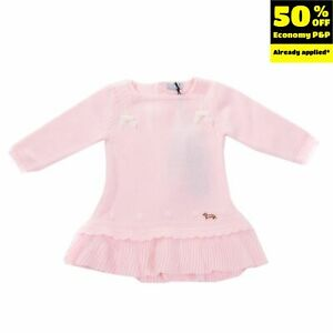 RRP€125 HARMONT & BLAINE Jumper Dress Size 6-9M Bow Details Tiered Hem Scalloped