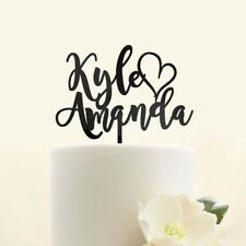 Custom Personalized First Name Heart Mr Mrs Bride and Groom Wedding Cake Topper