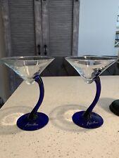 Martini Glasses - Blue Curved Stem - Set of 2-Never Used