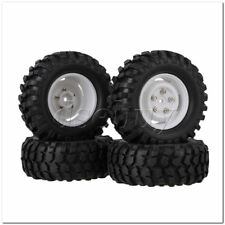 4x RC1:10 Rock Crawler Rubber Tires + Plastic White Wheel Rims w/Screws & Nuts
