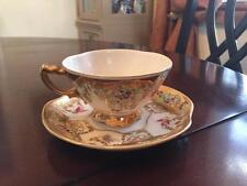 Charles Sadek Tea Cup Saucer Set Vintage Rare Hand Painted Birds
