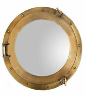 "Ship's Porthole Mirror 17"" Aluminum Antique Brass Finish Round Maritime Decor"