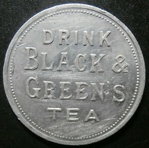 Advertising & good luck - Billiken / Drink Black and Green's tea - scratched