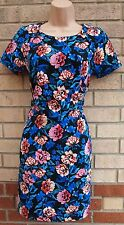 PRIMARK BLUE BLACK PINK ROSES FLORAL ZIP BACK BAGGY TUBE BODYCON TEA DRESS 6 XS